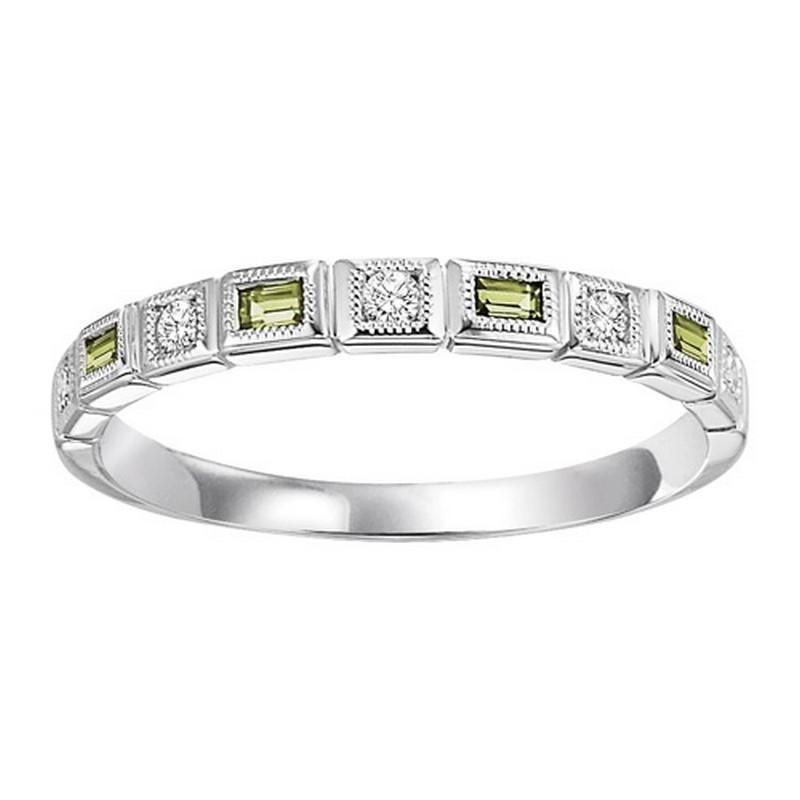14K White Gold Diamond & Peridot Ring