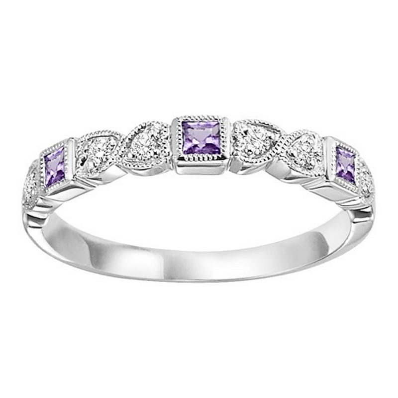 14K White Gold Amethyst & Diamond Stackable Ring