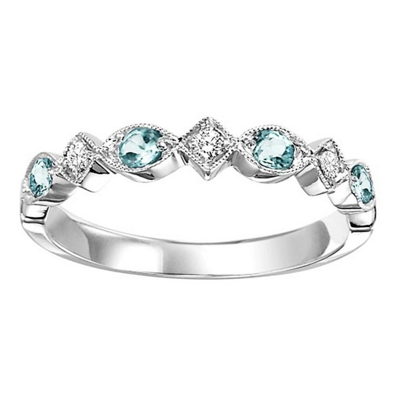14K White Gold Blue Topaz & Diamond Stackable Ring