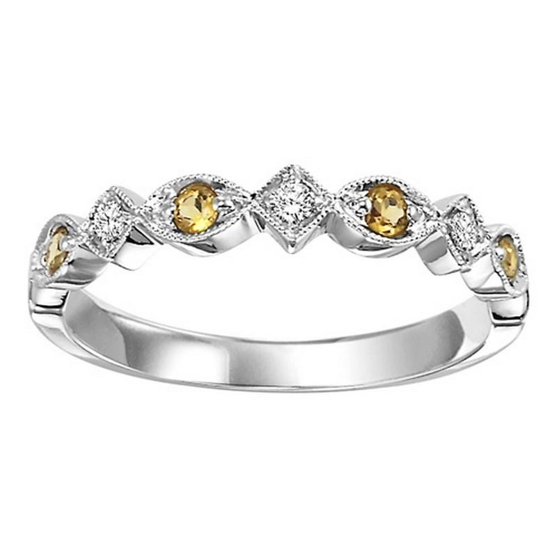 14K White Gold Citrine & Diamond Stackable Ring