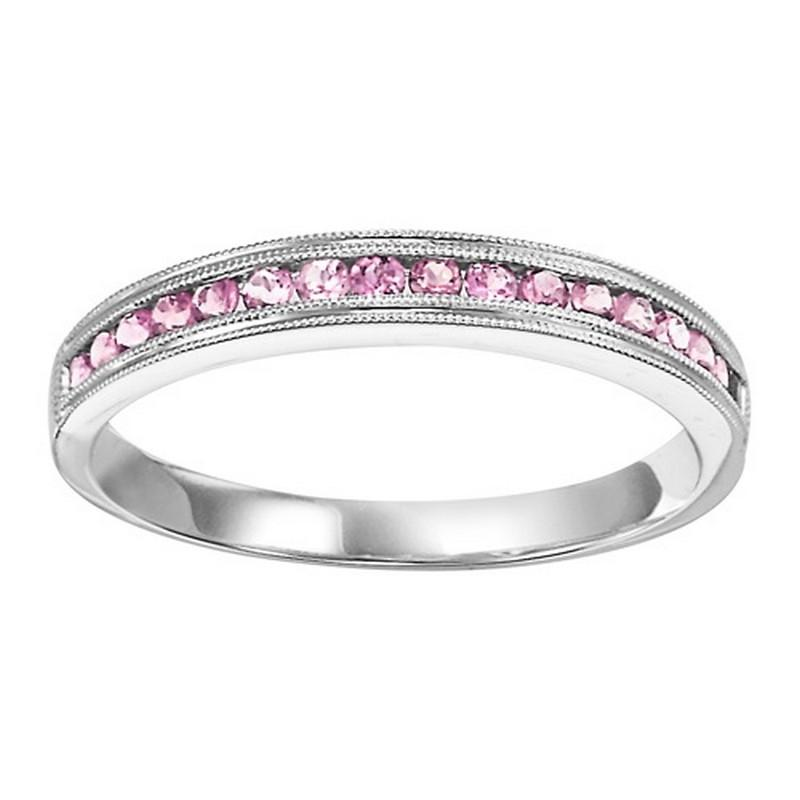 14K White Gold Pink Tourmaline Mixable Ring