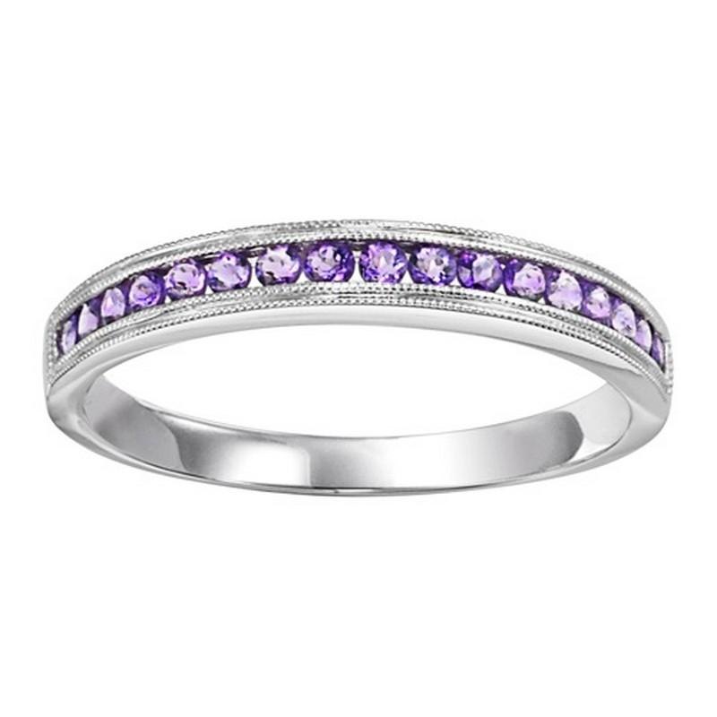 14K White Gold Amethyst Mixable Ring