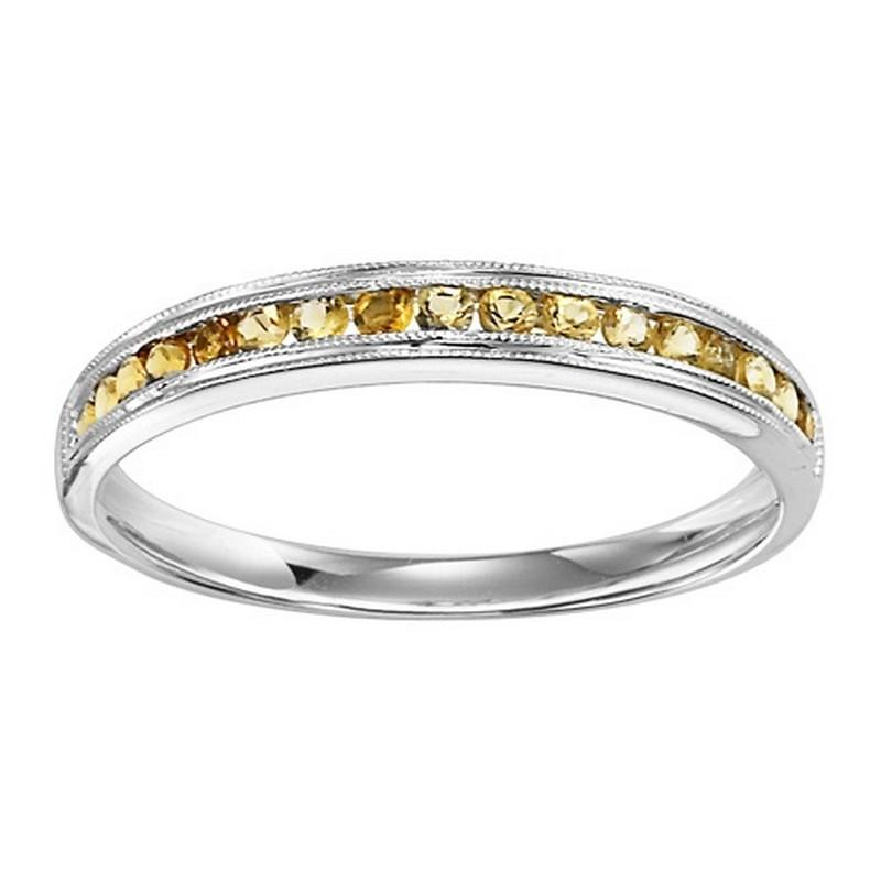 14K White Gold Citrine Mixable Ring