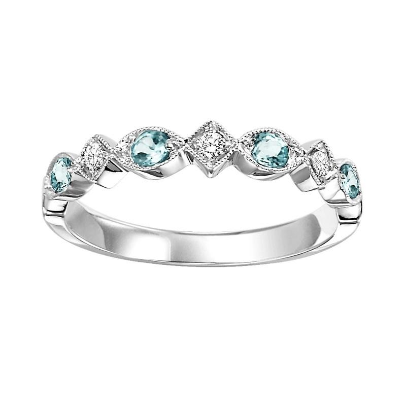 10K White Gold Aquamarine & Diamond Stackable Ring
