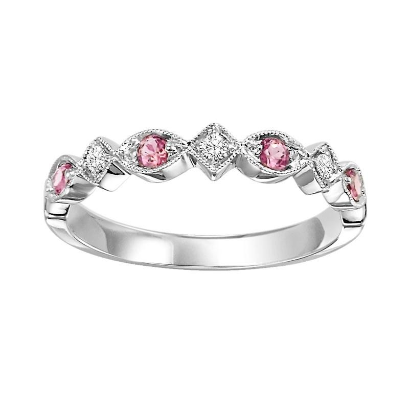 10K White Gold Synthetic Alexandrite & Diamond Stackable Ring