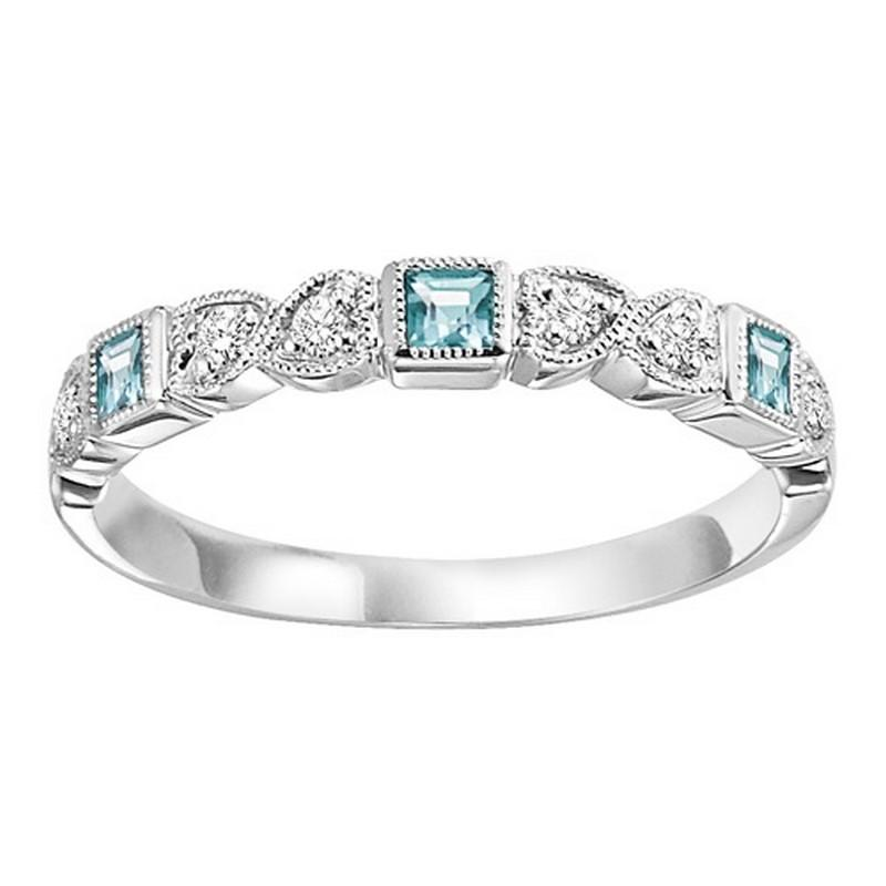 14K White Gold Aquamarine & Diamond Stackable Ring