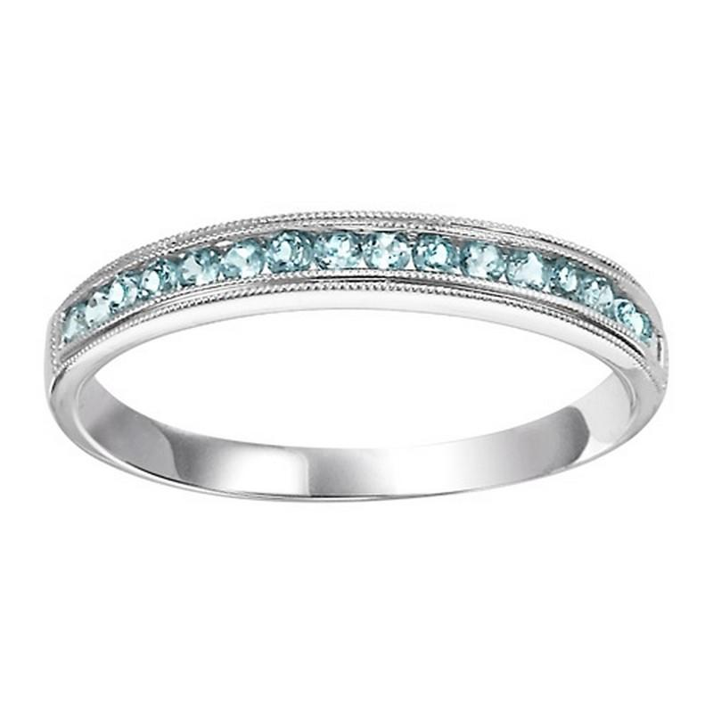 14K White Gold Blue Topaz Mixable Ring