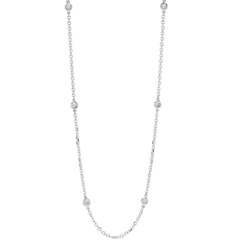 14K White Gold Diamond 1 ct Necklace