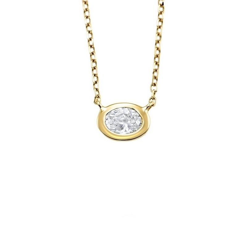 14K Yellow GoldDiamond Oval Pendant 1/10 ct