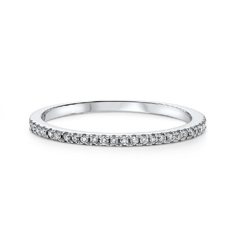 14K  White Gold Diamond Fashion Ring - 1/8 ct