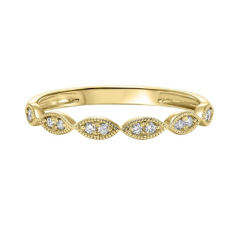 14K Yellow Gold Diamond Mixable Ring 1/8 ct