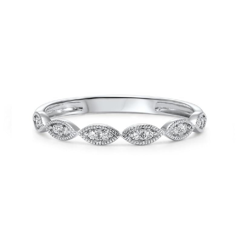 14K White Gold Diamond Stackable Ring 1/8 ct