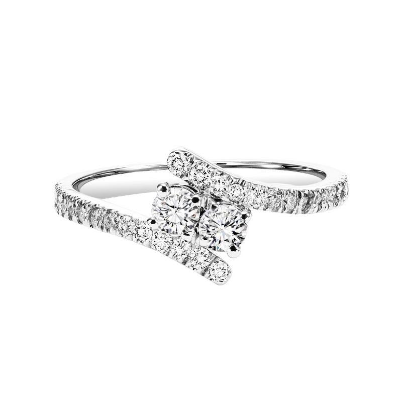 Silver Diamond Two Stone Ring 1/4 ct