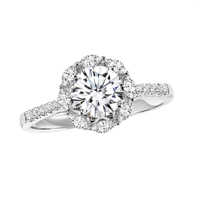 Halo Diamond Engagement Ring with Marquise Halo 1/3 ctw