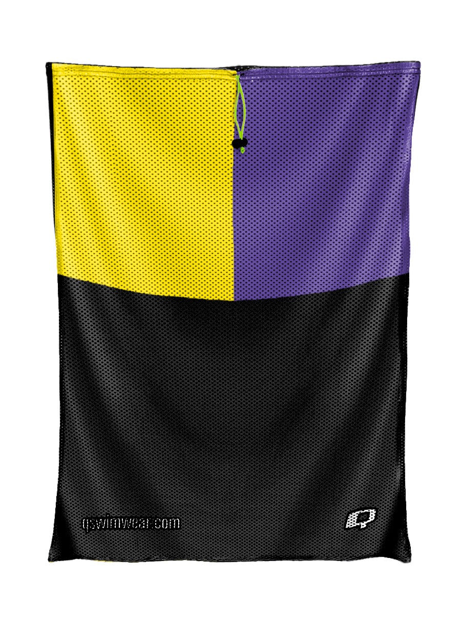 Tricolor Black, Yellow and Purple Mesh Bag