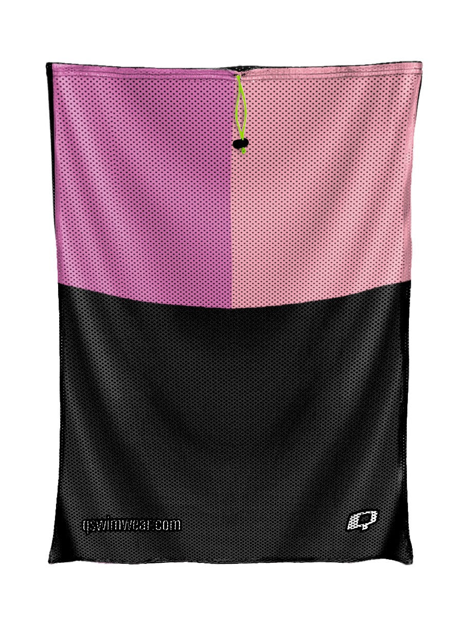 Tricolor Black, Hot Pink and Pink Mesh Bag