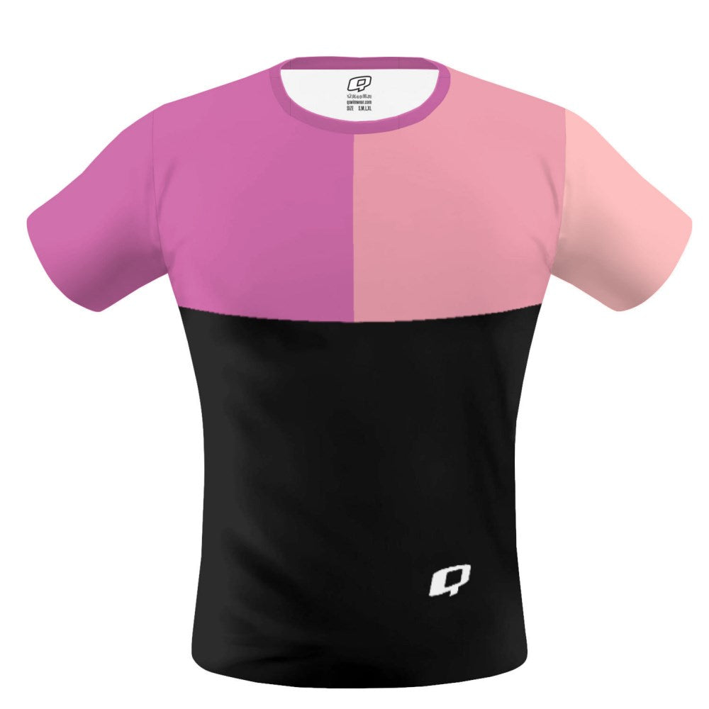 Tricolor Black, Hot Pink and Pink T-shirt