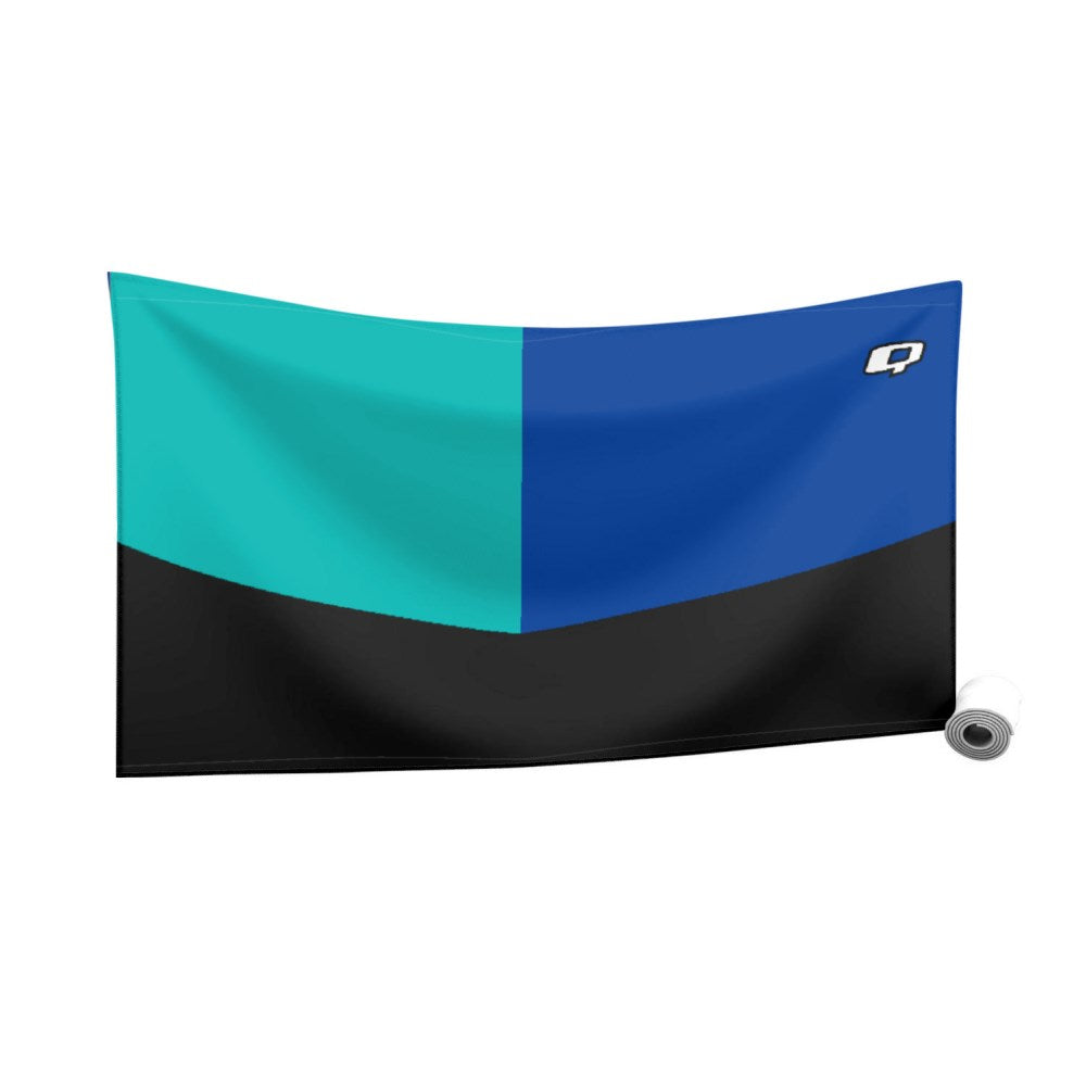 Tricolor Black, Turquoise and Blue Quick Dry Towel