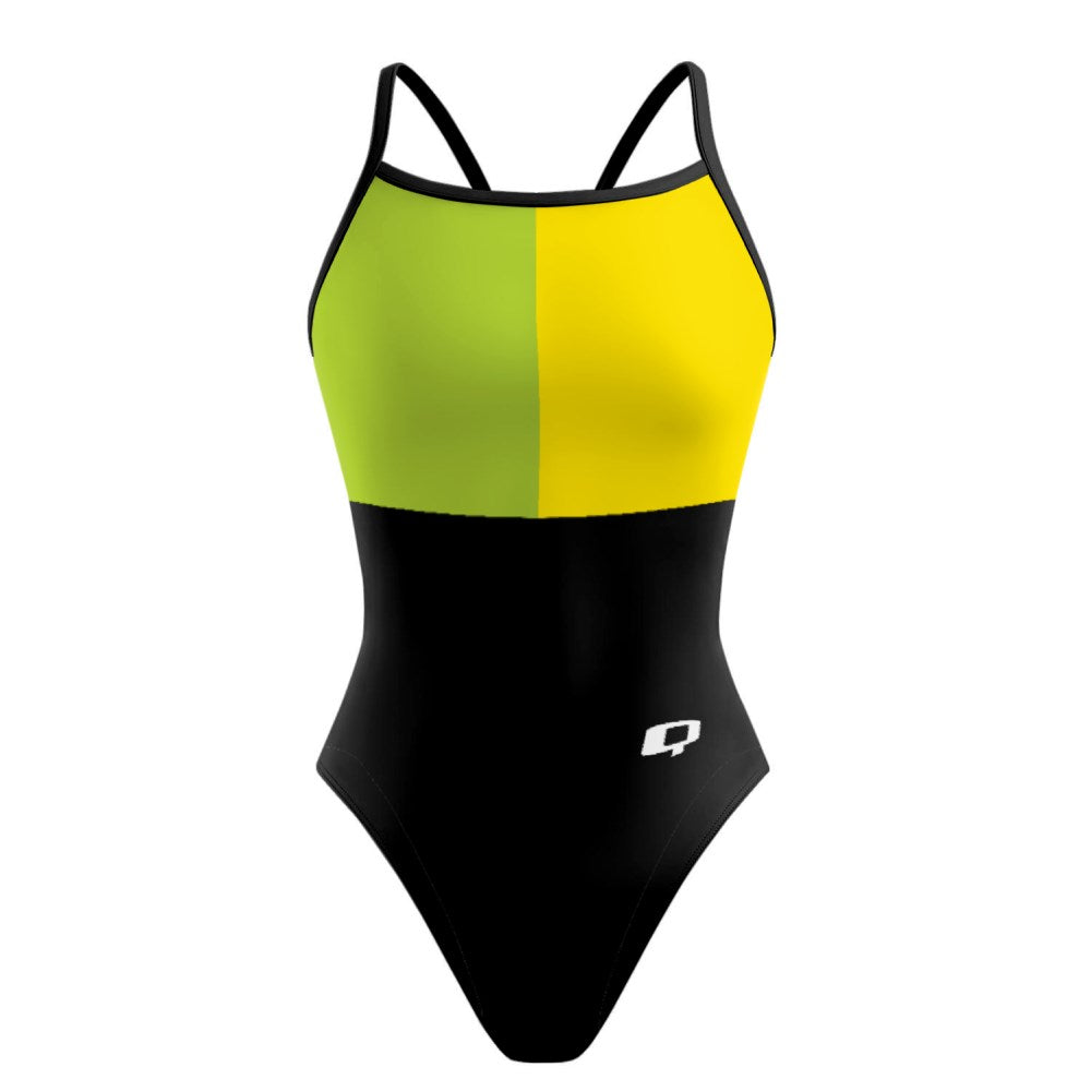 Tricolor Black, Green and Yellow Sunback Tank