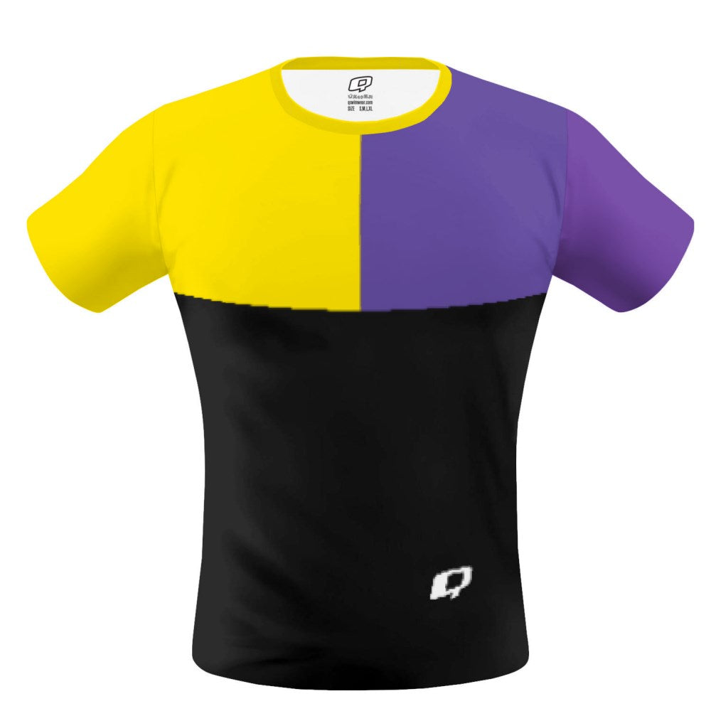 Tricolor Black, Yellow and Purple T-shirt
