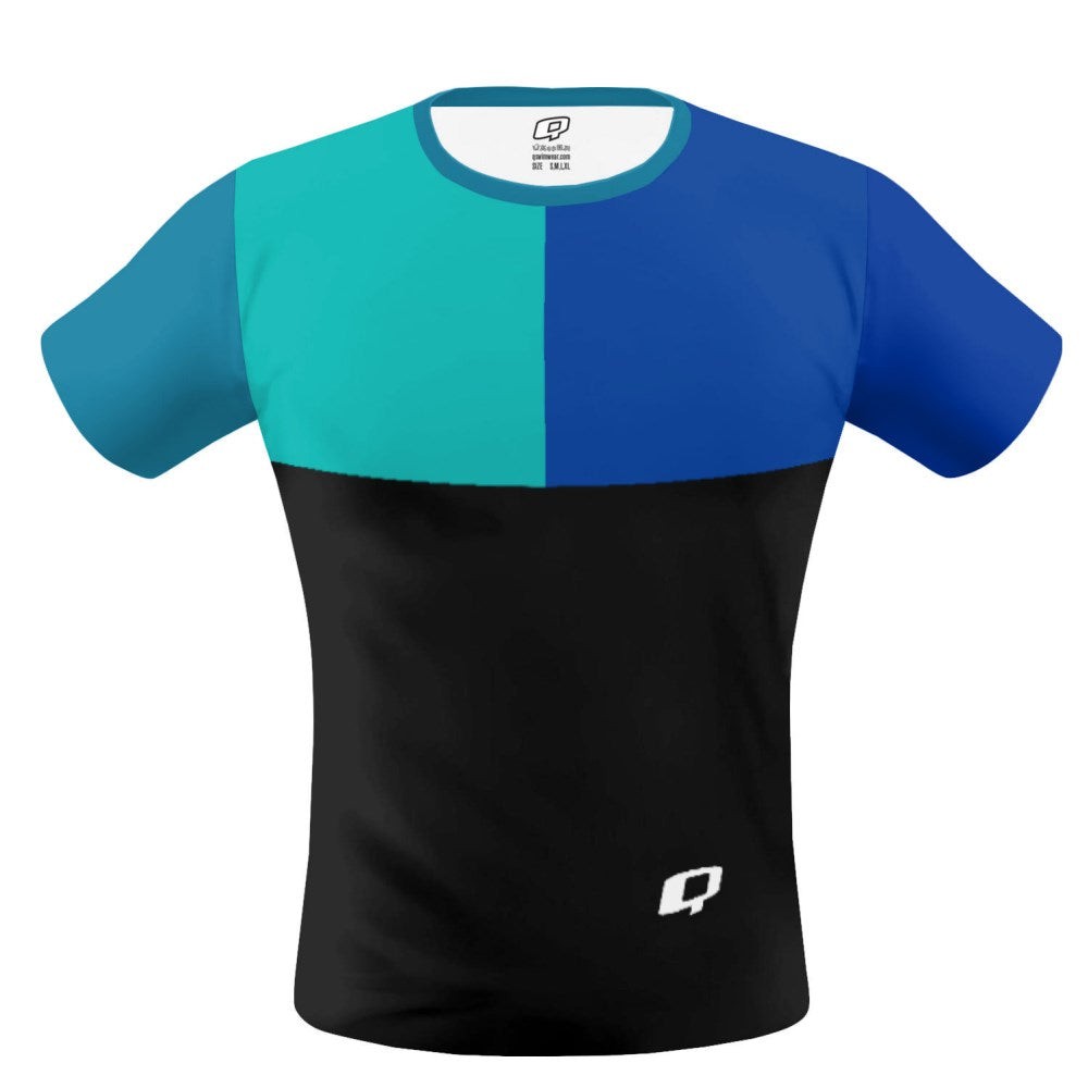 Tricolor Black, Turquoise and Blue T-shirt