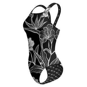 Black and White Flower Classic Strap