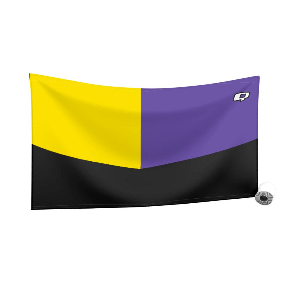 Tricolor Black. Yellow and Purple Quick Dry Towel