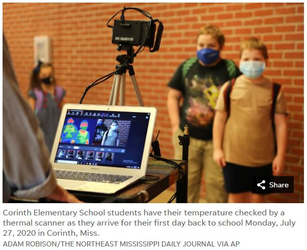 Corinth Elementary School students have their temperature checked by a Fotric 226B 223B thermal scanner