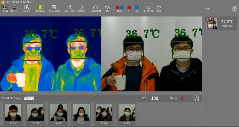 intelligently facial detection and lock of multiple persons, fotric 226B thermal camera