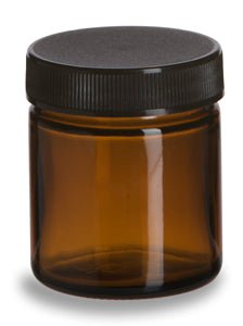 1.7 oz Amber Jar with black lid