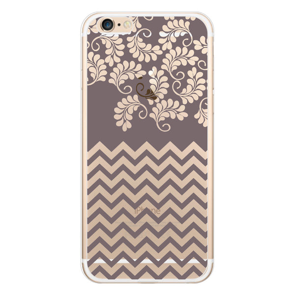 iPhone 6/6s and iPhone 6/6s Plus Gray Chevron Floral Clear Bumper Case