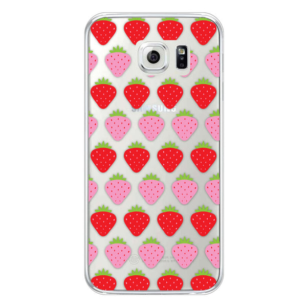 Samsung Galaxy S6 Strawberries Transparent Bumper Case