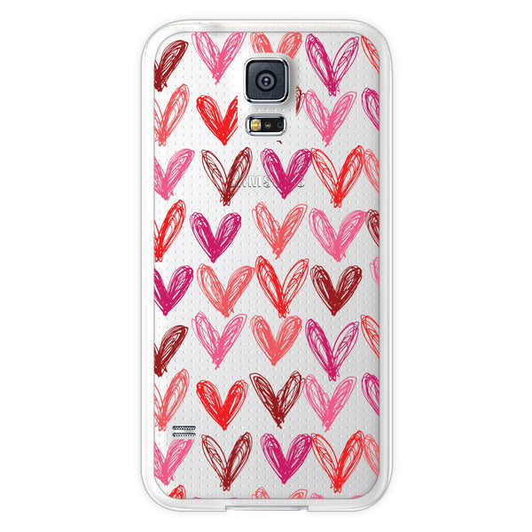 Samsung Galaxy S5 Transparent Hearts Bumper Case