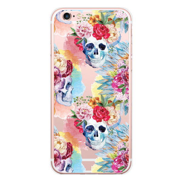 iPhone 6/6s and iPhone 6/6s Plus Floral Skulls Clear Bumper Case