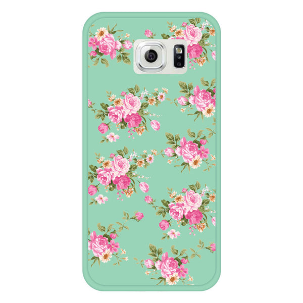Samsung Galaxy S6 Mint Green Floral Bumper Case