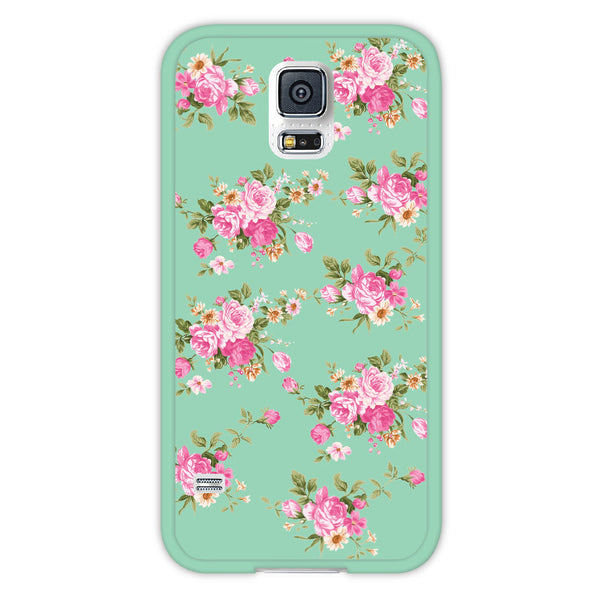 Samsung Galaxy S5 Mint Floral Bumper Case