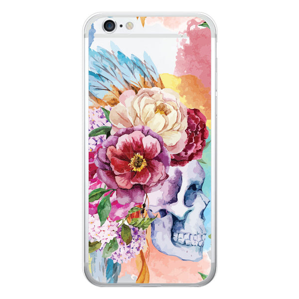 iPhone 6/6s and iPhone 6/6s Plus Skull Floral Feather Headress Clear Bumper Case