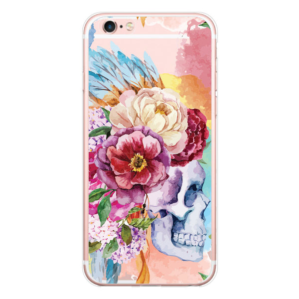 iPhone 7 and iPhone 7 Plus Skull Floral Feather Headress Clear Bumper Case