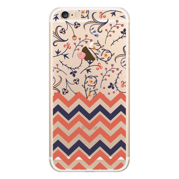 iPhone 6/6s and iPhone 6/6s Plus Coral Peach Chevron Floral Clear Bumper Case
