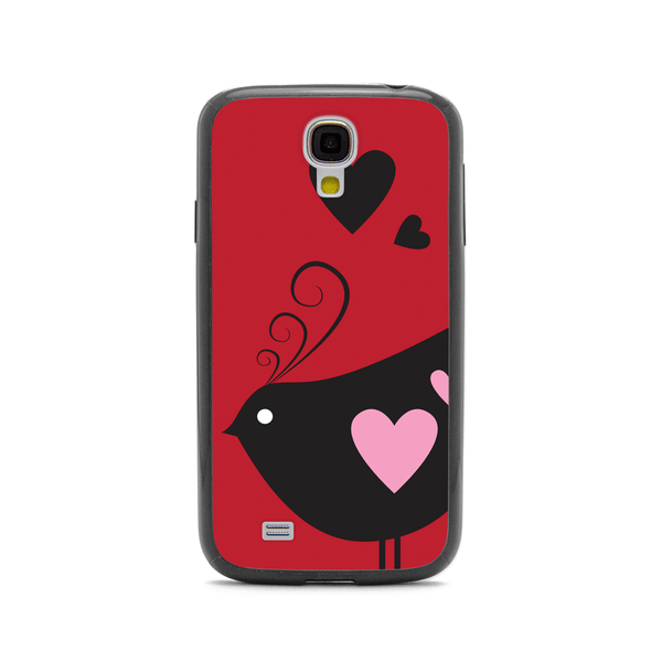 Samsung Galaxy S4 Bird Love Black Bumper Case