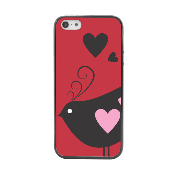 iPhone 5 and iPhone 5s Red Heart Bird Bumper Case
