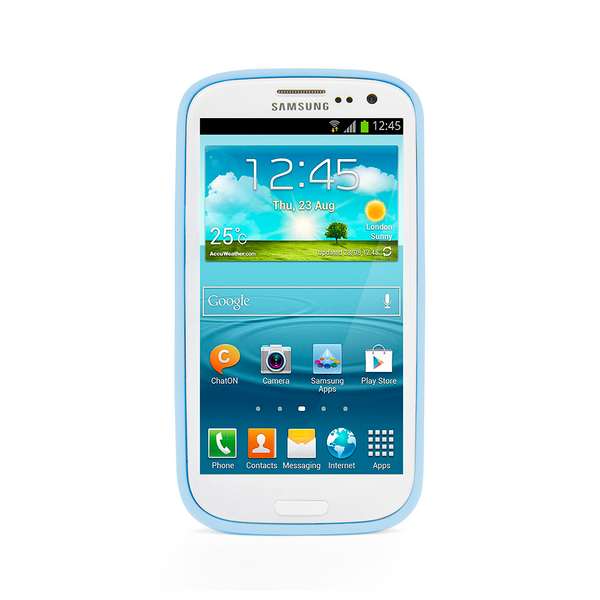 Samsung Galaxy S3 Blue Bumper Frosted Case
