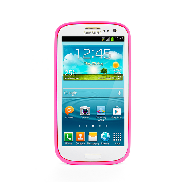Samsung Galaxy S3 Hot Pink Bumper Frosted Case