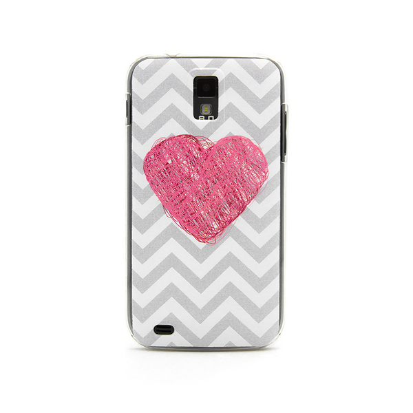 T-Mobile Samsung Galaxy S2 Chevron Heart Case - Gray Chevron Pink Heart Case