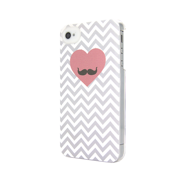 iPhone 4 and iPhone 4s Chevron Heart Moustache Case - Chevron Gusto Case