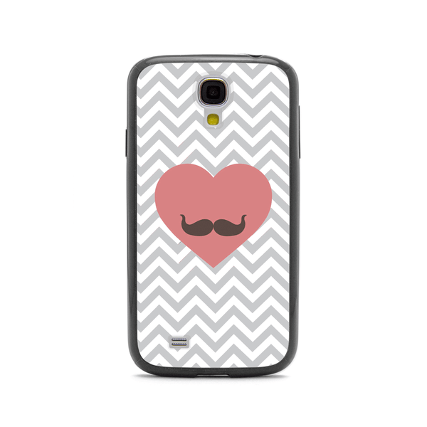 Samsung Galaxy S4 Chevron Heart Moustache Black Bumper Case