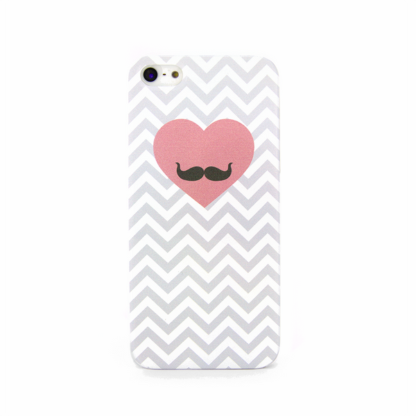 iPhone 5 and iPhone 5s Chevron Mustache with Heart Case - Chevron Gusto Case