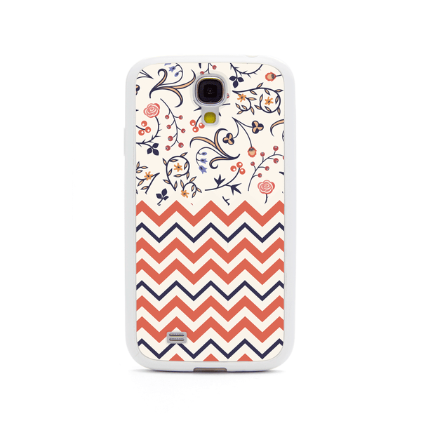 Samsung Galaxy S4 Peach Chevron Floral White Bumper Case