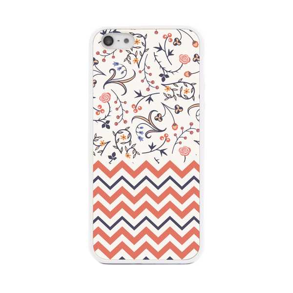 iPhone 5 and iPhone 5s Peach Chevron Floral Bumper Case
