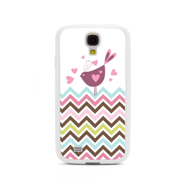 Samsung Galaxy S4 Bird Rainbow Chevron White Bumper Case